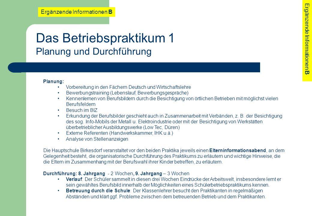 Planung: Vorbereitung in den Fächern Deutsch und Wirtschaftslehre Bewerbungstraining (Lebenslauf, Bewerbungsgespräche) Kennenlernen von Berufsbildern