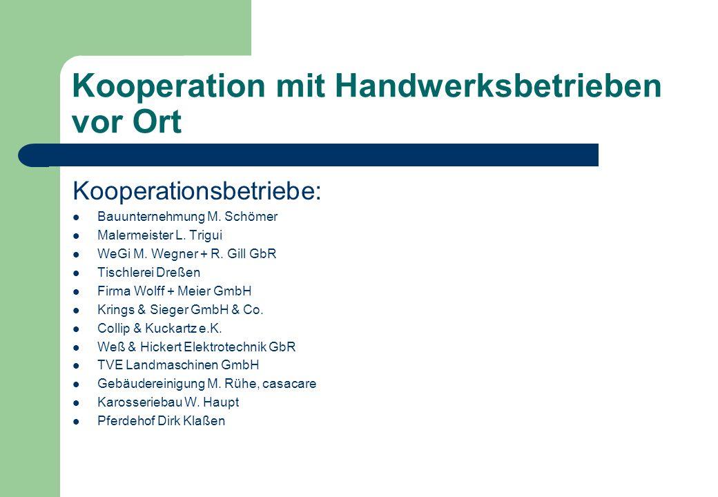 Kooperation mit Handwerksbetrieben vor Ort Kooperationsbetriebe: Bauunternehmung M. Schömer Malermeister L. Trigui WeGi M. Wegner + R. Gill GbR Tischl