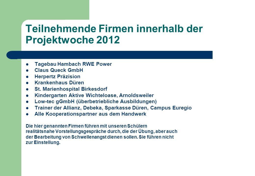 Teilnehmende Firmen innerhalb der Projektwoche 2012 Tagebau Hambach RWE Power Claus Queck GmbH Herpertz Präzision Krankenhaus Düren St. Marienhospital