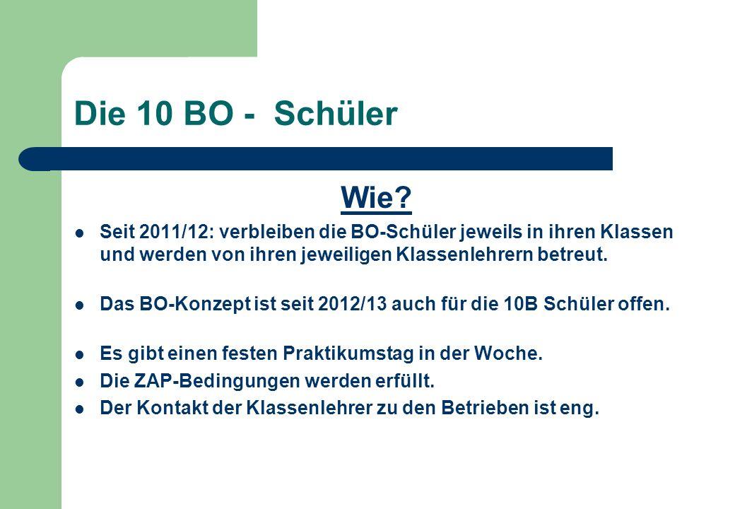 Die 10 BO - Schüler Wie? Seit 2011/12: verbleiben die BO-Schüler jeweils in ihren Klassen und werden von ihren jeweiligen Klassenlehrern betreut. Das