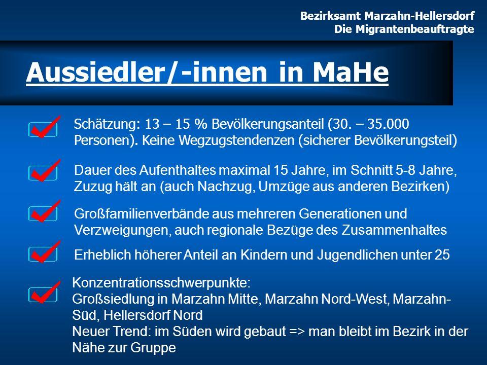 Bezirksamt Marzahn-Hellersdorf Die Migrantenbeauftragte Konzentrationsschwerpunkte: Großsiedlung in Marzahn Mitte, Marzahn Nord-West, Marzahn- Süd, He