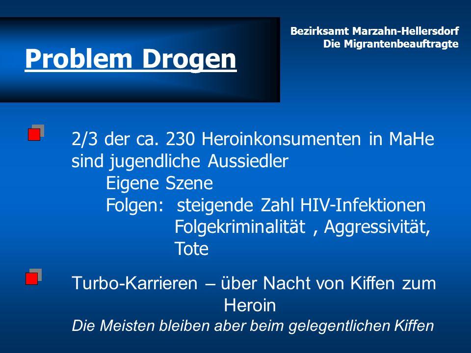 Bezirksamt Marzahn-Hellersdorf Die Migrantenbeauftragte 2/3 der ca. 230 Heroinkonsumenten in MaHe sind jugendliche Aussiedler Eigene Szene Folgen: ste
