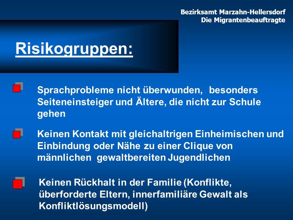 Bezirksamt Marzahn-Hellersdorf Die Migrantenbeauftragte Sprachprobleme nicht überwunden, besonders Seiteneinsteiger und Ältere, die nicht zur Schule g