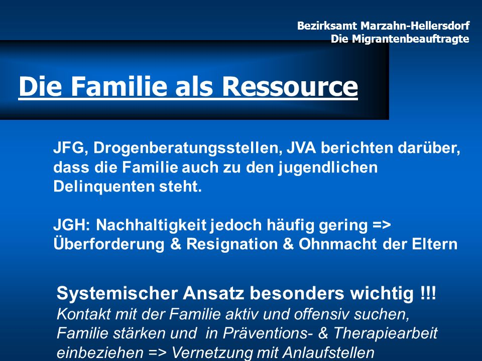 Bezirksamt Marzahn-Hellersdorf Die Migrantenbeauftragte Die Familie als Ressource JFG, Drogenberatungsstellen, JVA berichten darüber, dass die Familie
