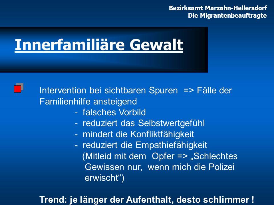 Bezirksamt Marzahn-Hellersdorf Die Migrantenbeauftragte Innerfamiliäre Gewalt Intervention bei sichtbaren Spuren => Fälle der Familienhilfe ansteigend