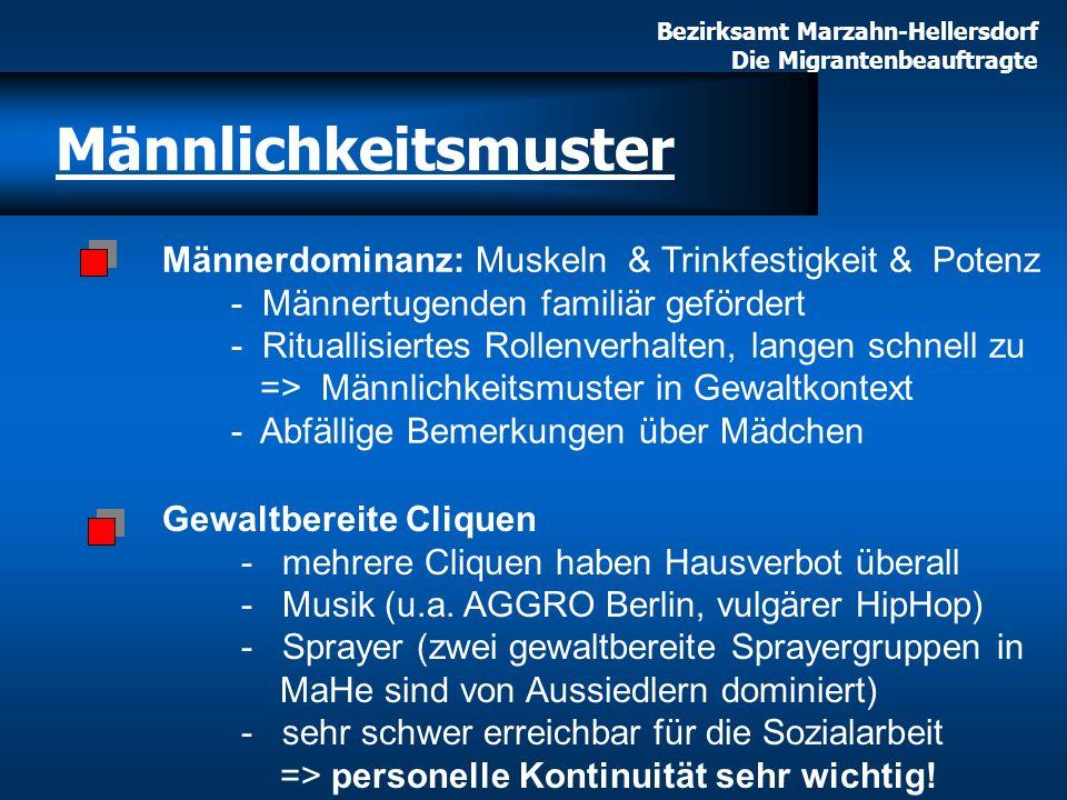 Bezirksamt Marzahn-Hellersdorf Die Migrantenbeauftragte Männerdominanz: Muskeln & Trinkfestigkeit & Potenz - Männertugenden familiär gefördert - Ritua