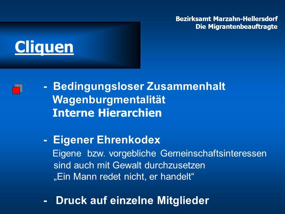 Bezirksamt Marzahn-Hellersdorf Die Migrantenbeauftragte Cliquen - Bedingungsloser Zusammenhalt Wagenburgmentalität Interne Hierarchien - Eigener Ehren