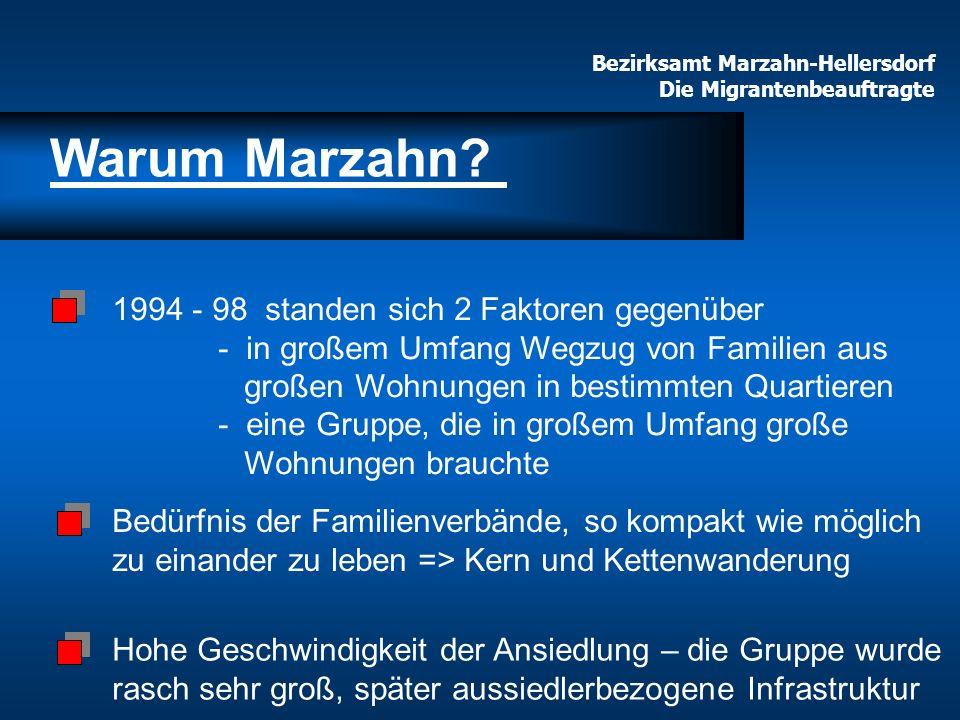 Bezirksamt Marzahn-Hellersdorf Die Migrantenbeauftragte 1994 - 98 standen sich 2 Faktoren gegenüber - in großem Umfang Wegzug von Familien aus großen