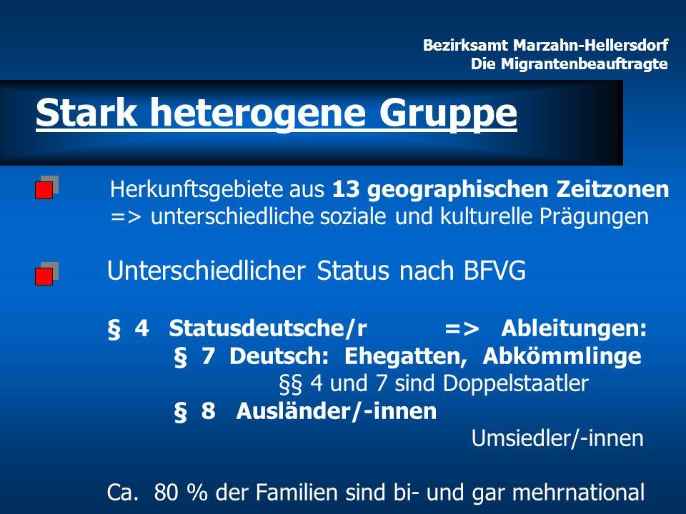 Bezirksamt Marzahn-Hellersdorf Die Migrantenbeauftragte Herkunftsgebiete aus 13 geographischen Zeitzonen => unterschiedliche soziale und kulturelle Pr