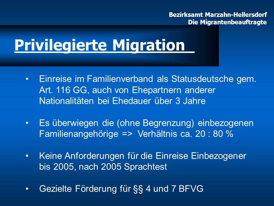 Privilegierte Migration Einreise im Familienverband als Statusdeutsche gem. Art. 116 GG, auch von Ehepartnern anderer Nationalitäten bei Ehedauer über