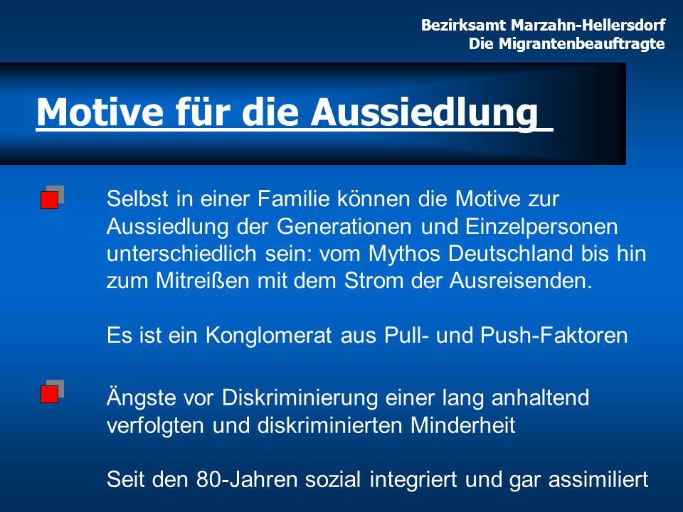 Selbst in einer Familie können die Motive zur Aussiedlung der Generationen und Einzelpersonen unterschiedlich sein: vom Mythos Deutschland bis hin zum