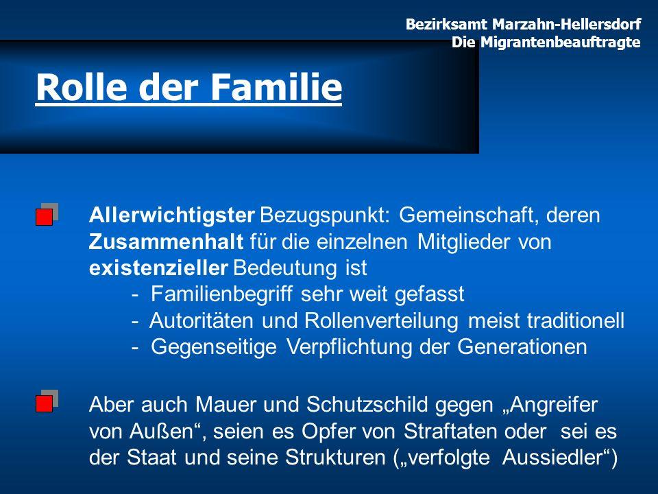 Bezirksamt Marzahn-Hellersdorf Die Migrantenbeauftragte Rolle der Familie Allerwichtigster Bezugspunkt: Gemeinschaft, deren Zusammenhalt für die einze