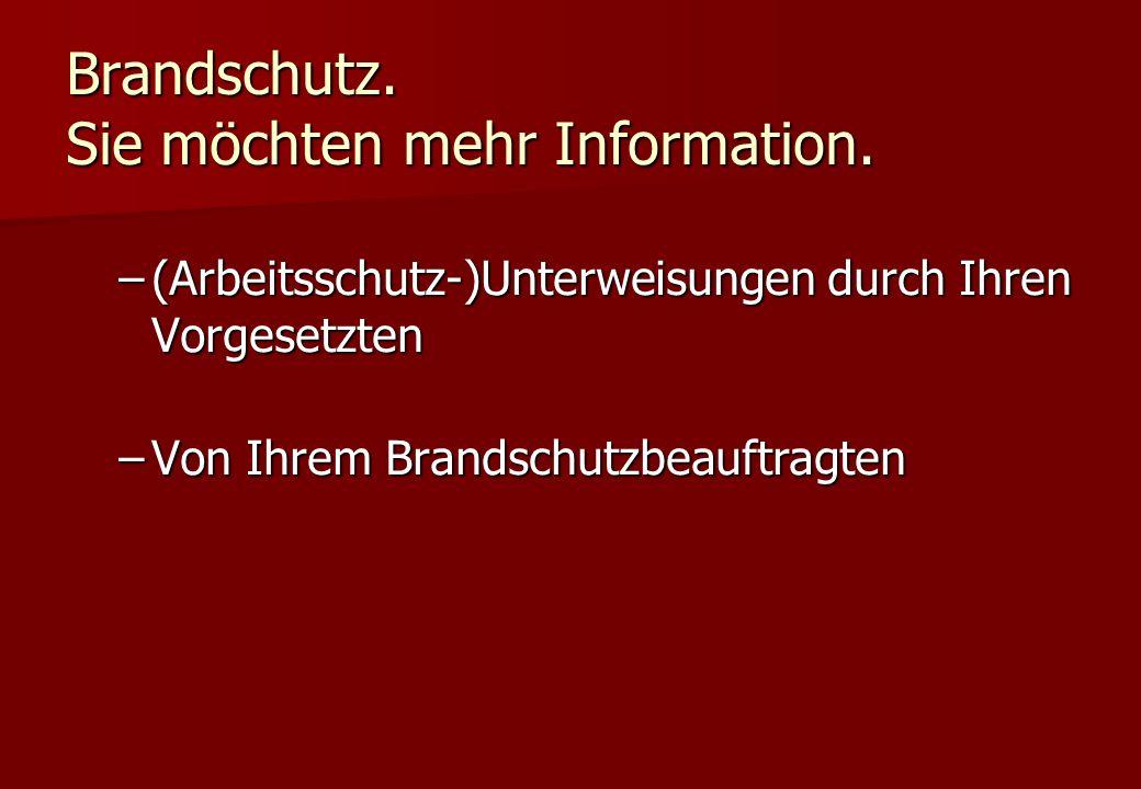 Brandschutz. Sie möchten mehr Information. –(Arbeitsschutz-)Unterweisungen durch Ihren Vorgesetzten –Von Ihrem Brandschutzbeauftragten