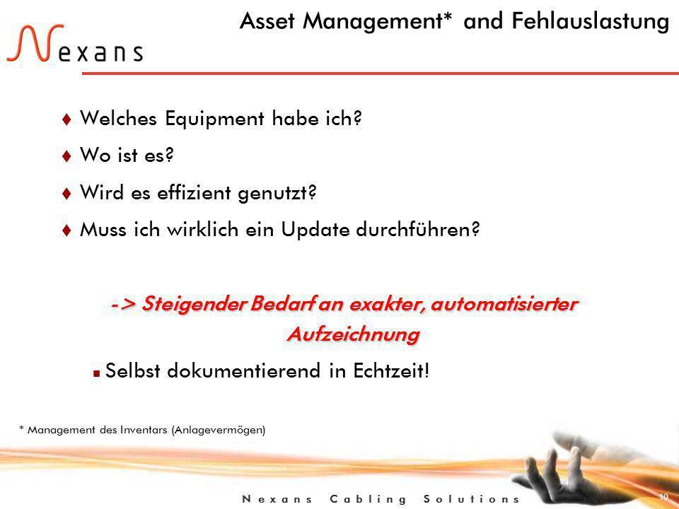 10 N e x a n s C a b l i n g S o l u t i o n s Asset Management* and Fehlauslastung t Welches Equipment habe ich.