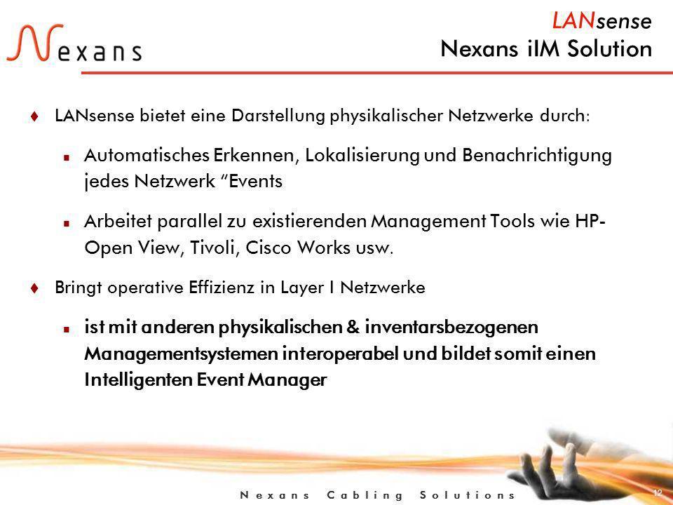 12 N e x a n s C a b l i n g S o l u t i o n s LANsense Nexans iIM Solution t LANsense bietet eine Darstellung physikalischer Netzwerke durch: n Automatisches Erkennen, Lokalisierung und Benachrichtigung jedes Netzwerk Events n Arbeitet parallel zu existierenden Management Tools wie HP- Open View, Tivoli, Cisco Works usw.