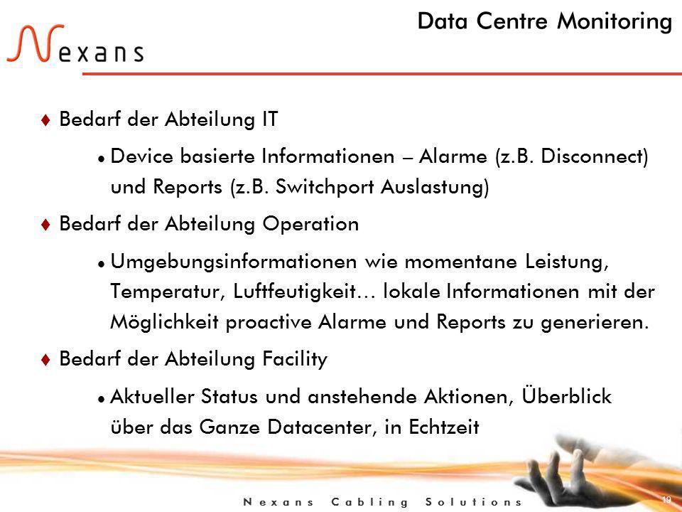 19 N e x a n s C a b l i n g S o l u t i o n s Data Centre Monitoring t Bedarf der Abteilung IT Device basierte Informationen – Alarme (z.B.