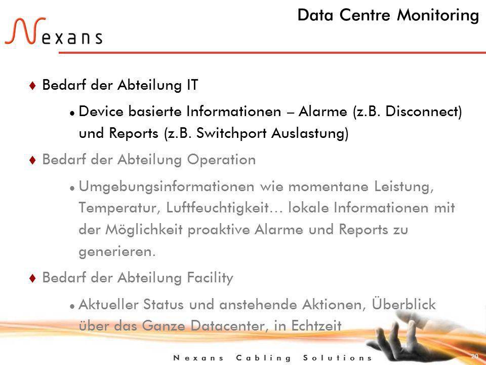 20 N e x a n s C a b l i n g S o l u t i o n s Data Centre Monitoring t Bedarf der Abteilung IT Device basierte Informationen – Alarme (z.B.