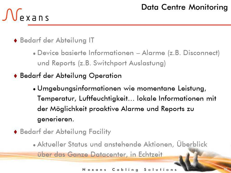 22 N e x a n s C a b l i n g S o l u t i o n s Data Centre Monitoring t Bedarf der Abteilung IT Device basierte Informationen – Alarme (z.B.