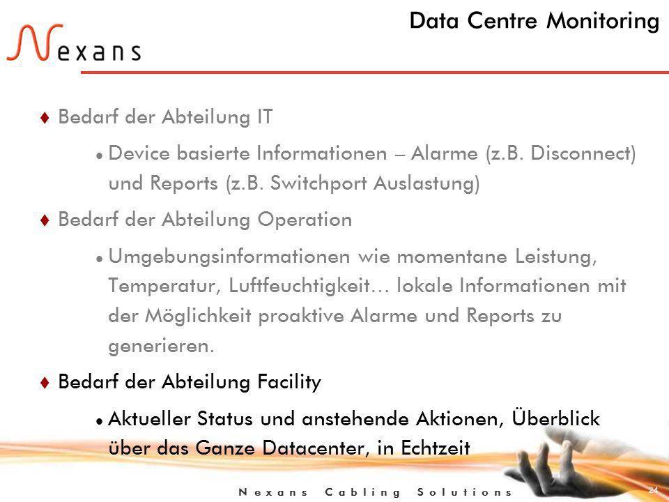 24 N e x a n s C a b l i n g S o l u t i o n s Data Centre Monitoring t Bedarf der Abteilung IT Device basierte Informationen – Alarme (z.B.