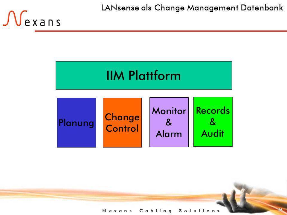 26 N e x a n s C a b l i n g S o l u t i o n s LANsense als Change Management Datenbank IIM Plattform Planung Change Control Monitor & Alarm Records & Audit