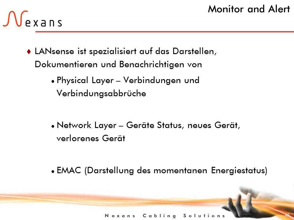 28 N e x a n s C a b l i n g S o l u t i o n s Monitor and Alert t LANsense ist spezialisiert auf das Darstellen, Dokumentieren und Benachrichtigen von Physical Layer – Verbindungen und Verbindungsabbrüche Network Layer – Geräte Status, neues Gerät, verlorenes Gerät EMAC (Darstellung des momentanen Energiestatus)