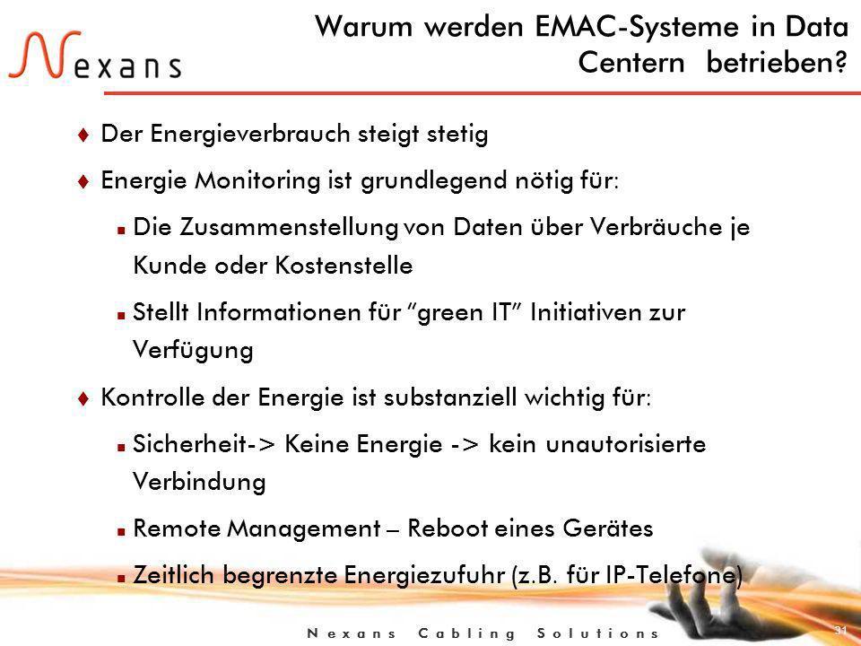31 N e x a n s C a b l i n g S o l u t i o n s Warum werden EMAC-Systeme in Data Centern betrieben.