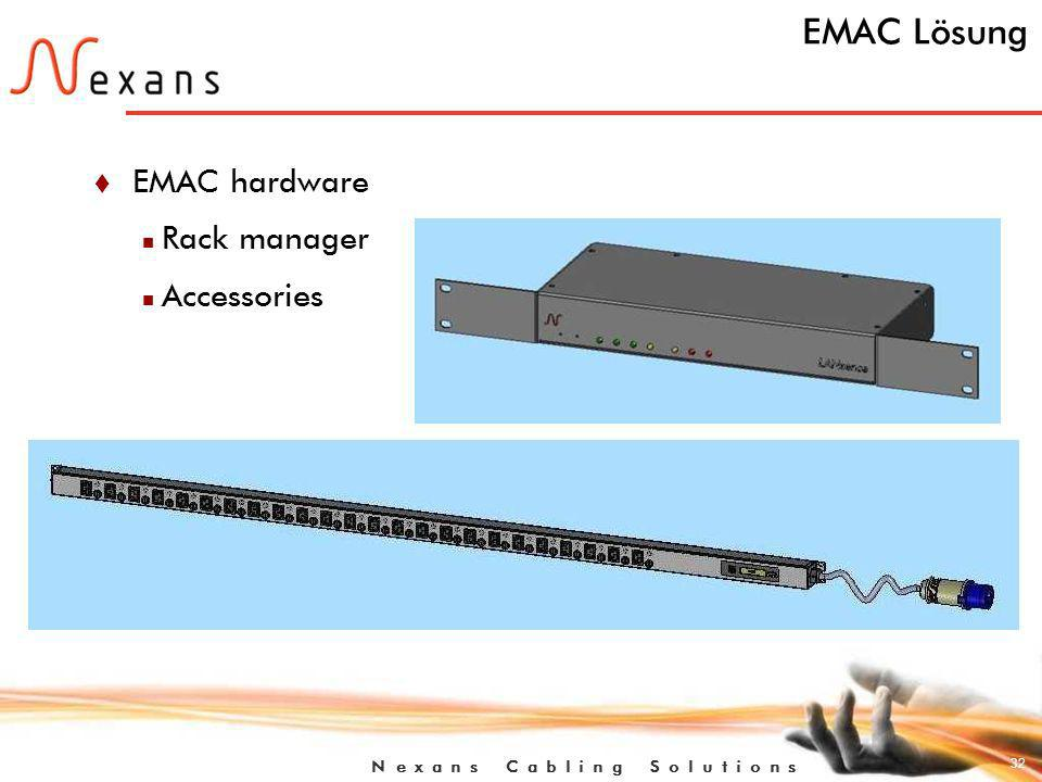 32 N e x a n s C a b l i n g S o l u t i o n s EMAC Lösung t EMAC hardware n Rack manager n Accessories
