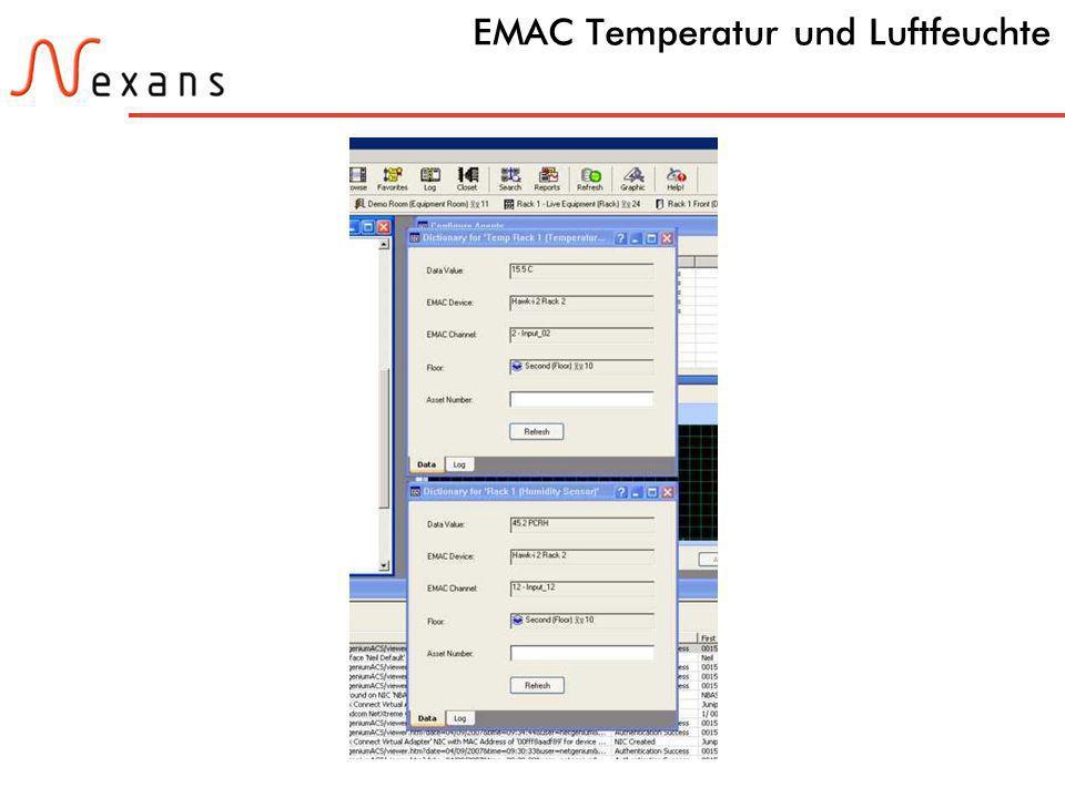 37 N e x a n s C a b l i n g S o l u t i o n s EMAC Temperatur und Luftfeuchte