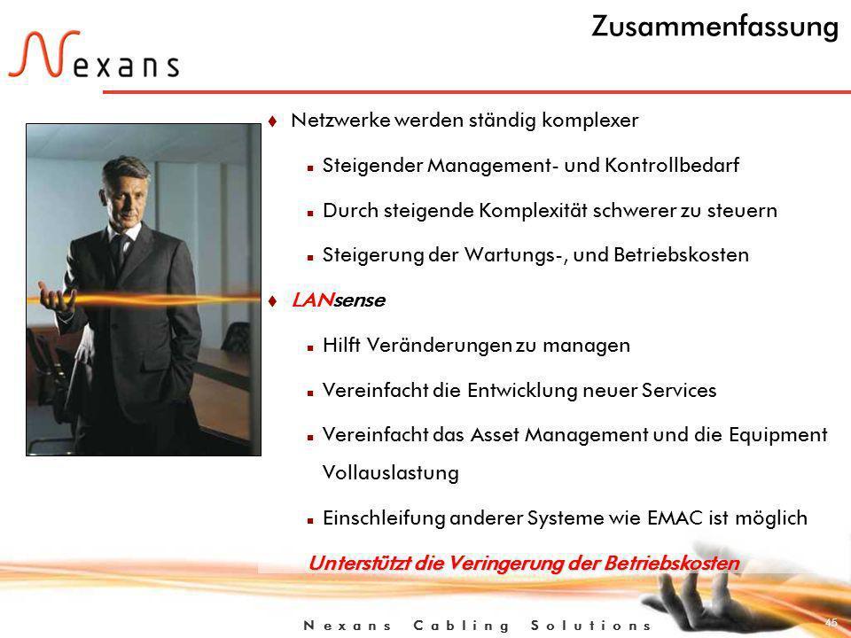 45 N e x a n s C a b l i n g S o l u t i o n s Zusammenfassung t Netzwerke werden ständig komplexer n Steigender Management- und Kontrollbedarf n Durch steigende Komplexität schwerer zu steuern n Steigerung der Wartungs-, und Betriebskosten t LANsense n Hilft Veränderungen zu managen n Vereinfacht die Entwicklung neuer Services n Vereinfacht das Asset Management und die Equipment Vollauslastung n Einschleifung anderer Systeme wie EMAC ist möglich Unterstützt die Veringerung der Betriebskosten