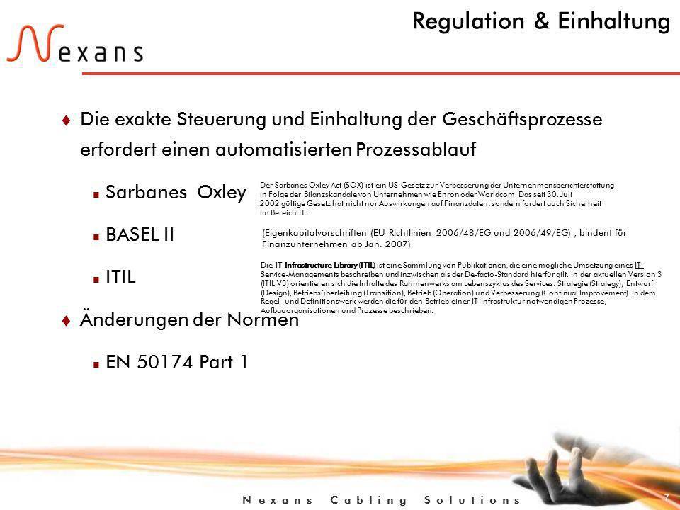 7 N e x a n s C a b l i n g S o l u t i o n s Regulation & Einhaltung t Die exakte Steuerung und Einhaltung der Geschäftsprozesse erfordert einen automatisierten Prozessablauf n Sarbanes Oxley n BASEL II n ITIL t Änderungen der Normen n EN 50174 Part 1 Der Sarbanes Oxley Act (SOX) ist ein US-Gesetz zur Verbesserung der Unternehmensberichterstattung in Folge der Bilanzskandale von Unternehmen wie Enron oder Worldcom.