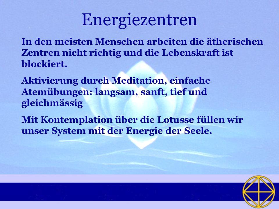 Energiezentren In den meisten Menschen arbeiten die ätherischen Zentren nicht richtig und die Lebenskraft ist blockiert. Aktivierung durch Meditation,
