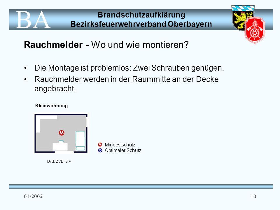 Brandschutzaufklärung Bezirksfeuerwehrverband Oberbayern BA 01/200210 Rauchmelder - Wo und wie montieren.