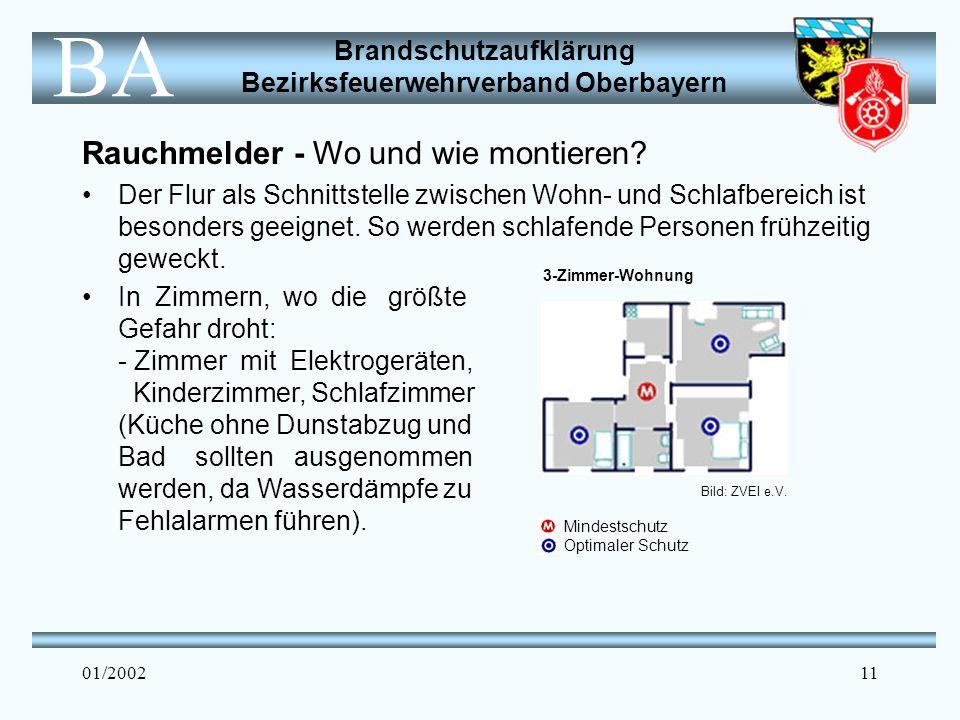 Brandschutzaufklärung Bezirksfeuerwehrverband Oberbayern BA 01/200211 Rauchmelder - Wo und wie montieren.