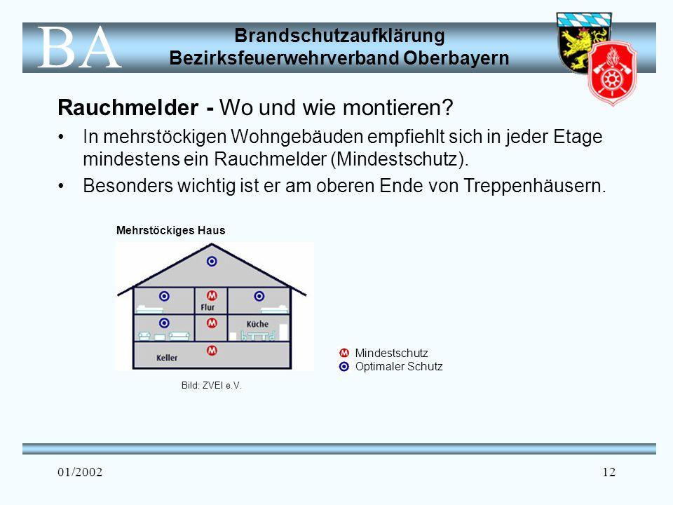 Brandschutzaufklärung Bezirksfeuerwehrverband Oberbayern BA 01/200212 Rauchmelder - Wo und wie montieren.