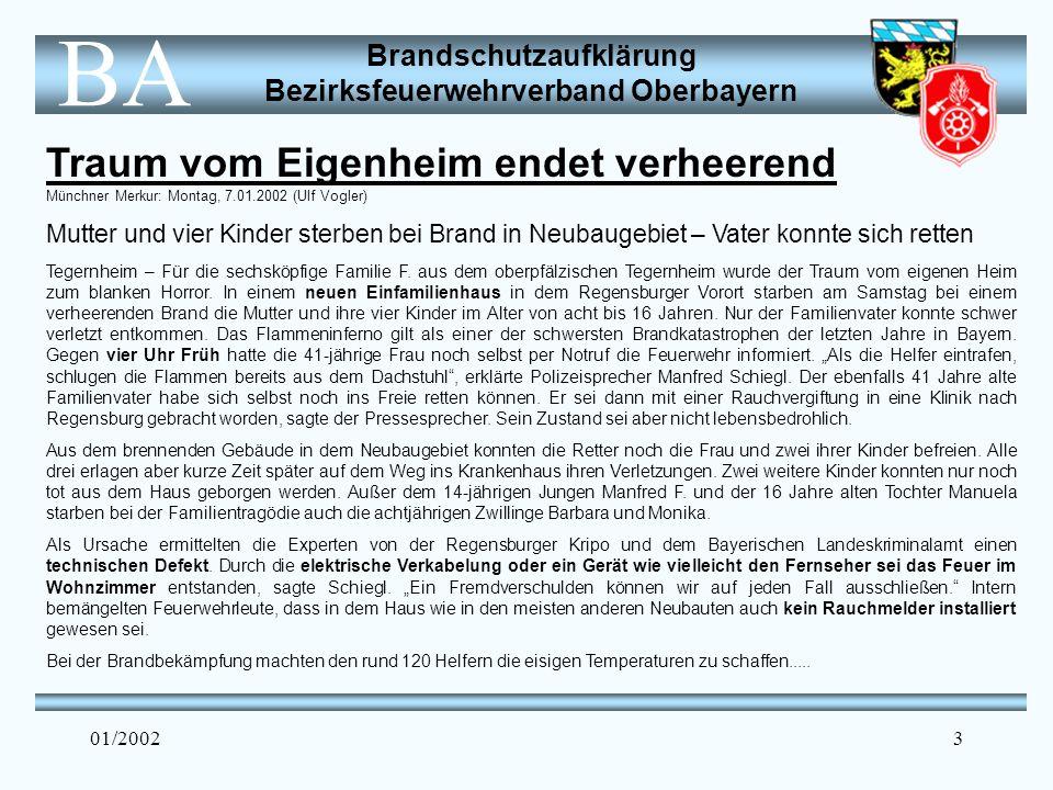 Brandschutzaufklärung Bezirksfeuerwehrverband Oberbayern BA 01/20023 Traum vom Eigenheim endet verheerend Münchner Merkur: Montag, 7.01.2002 (Ulf Vogler) Mutter und vier Kinder sterben bei Brand in Neubaugebiet – Vater konnte sich retten Tegernheim – Für die sechsköpfige Familie F.