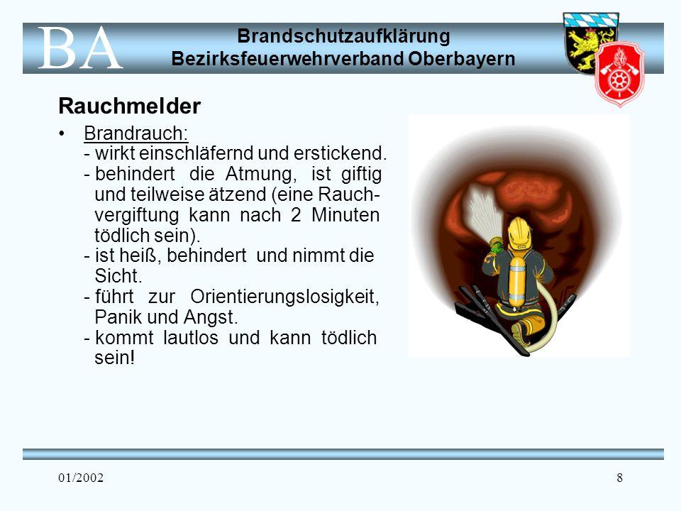Brandschutzaufklärung Bezirksfeuerwehrverband Oberbayern BA 01/20029 Rauchmelder Rauchmelder sind bestens dazu geeignet, die Familie bei der Entstehung eines Brandes durch den lauten Alarmton (85 dB/3m) zu alarmieren.