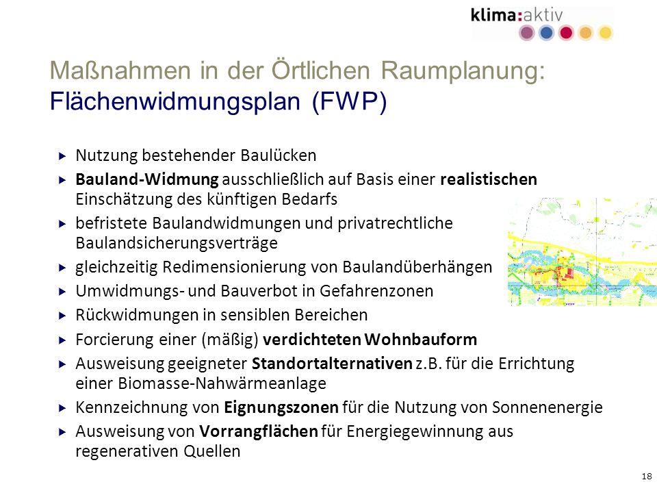 18 Maßnahmen in der Örtlichen Raumplanung: Flächenwidmungsplan (FWP) Nutzung bestehender Baulücken Bauland-Widmung ausschließlich auf Basis einer real