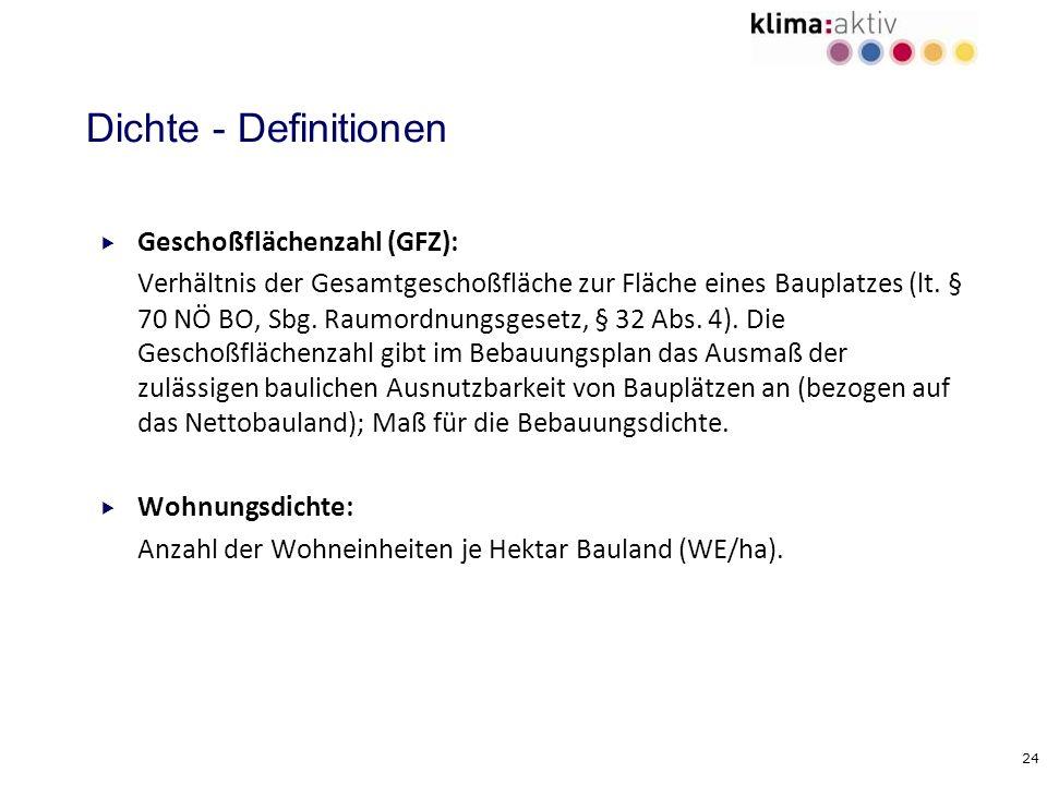 24 Dichte - Definitionen Geschoßflächenzahl (GFZ): Verhältnis der Gesamtgeschoßfläche zur Fläche eines Bauplatzes (lt. § 70 NÖ BO, Sbg. Raumordnungsge