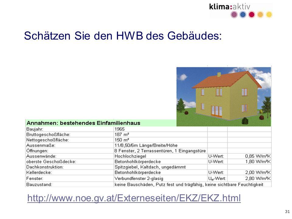 31 Schätzen Sie den HWB des Gebäudes: http://www.noe.gv.at/Externeseiten/EKZ/EKZ.html