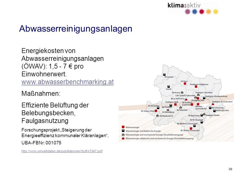 38 Abwasserreinigungsanlagen Energiekosten von Abwasserreinigungsanlagen (ÖWAV): 1,5 - 7 pro Einwohnerwert. www.abwasserbenchmarking.at www.abwasserbe