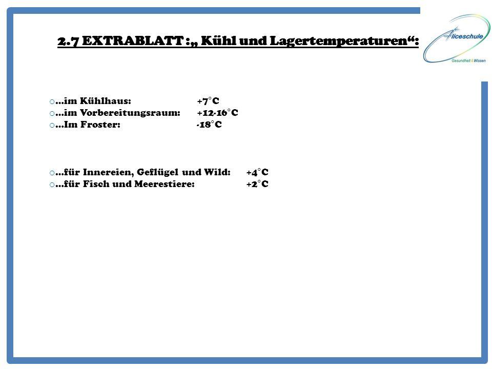 2.7 EXTRABLATT : Kühl und Lagertemperaturen: o …im Kühlhaus:+7°C o …im Vorbereitungsraum:+12-16°C o …Im Froster:-18°C o …für Innereien, Geflügel und W