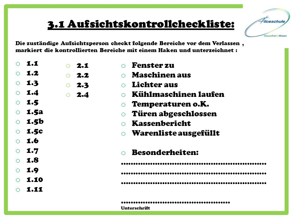 3.1 Aufsichtskontrollcheckliste: o 1.1 o 1.2 o 1.3 o 1.4 o 1.5 o 1.5a o 1.5b o 1.5c o 1.6 o 1.7 o 1.8 o 1.9 o 1.10 o 1.11 o 2.1 o 2.2 o 2.3 o 2.4 o Fe