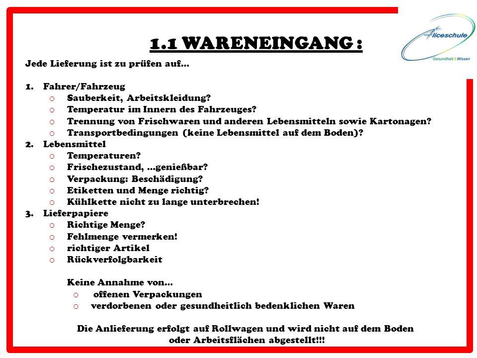 1.1 WARENEINGANG : Jede Lieferung ist zu prüfen auf… 1.Fahrer/Fahrzeug o Sauberkeit, Arbeitskleidung? o Temperatur im Innern des Fahrzeuges? o Trennun