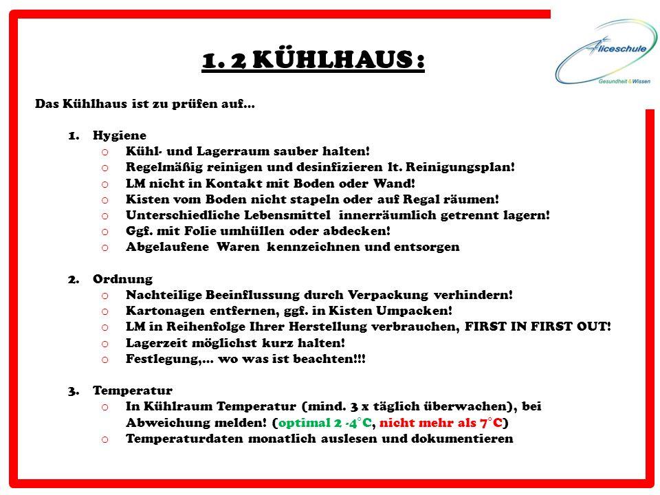 1. 2 KÜHLHAUS : Das Kühlhaus ist zu prüfen auf… 1.Hygiene o Kühl- und Lagerraum sauber halten! o Regelmäßig reinigen und desinfizieren lt. Reinigungsp
