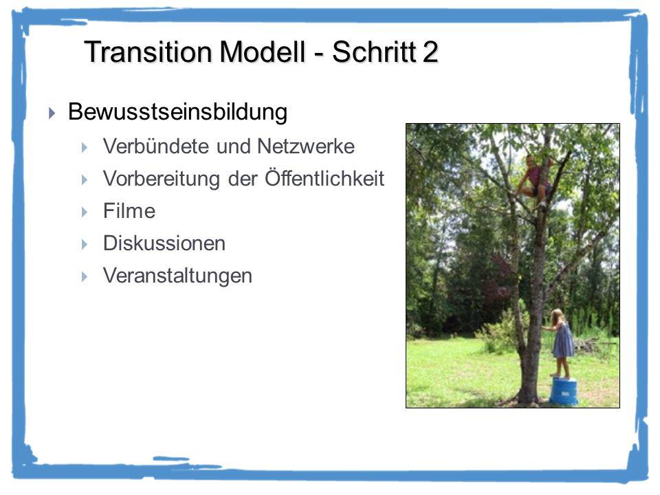 Transition Modell - Schritt 2 Bewusstseinsbildung Verbündete und Netzwerke Vorbereitung der Öffentlichkeit Filme Diskussionen Veranstaltungen