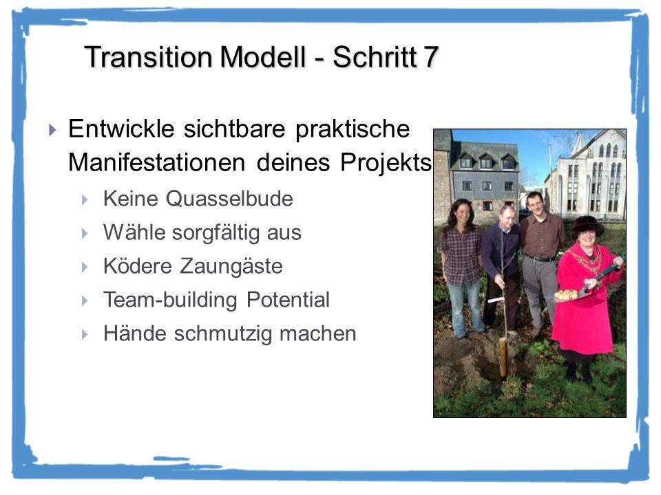 Transition Modell - Schritt 7 Entwickle sichtbare praktische Manifestationen deines Projekts Keine Quasselbude Wähle sorgfältig aus Ködere Zaungäste Team-building Potential Hände schmutzig machen