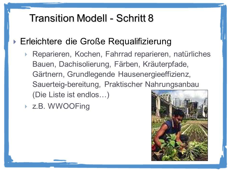 Transition Modell - Schritt 8 Erleichtere die Große Requalifizierung Reparieren, Kochen, Fahrrad reparieren, natürliches Bauen, Dachisolierung, Färben, Kräuterpfade, Gärtnern, Grundlegende Hausenergieeffizienz, Sauerteig-bereitung, Praktischer Nahrungsanbau (Die Liste ist endlos…) z.B.