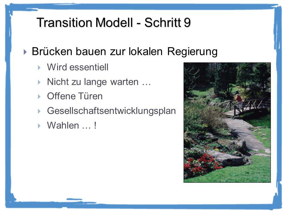 Transition Modell - Schritt 9 Brücken bauen zur lokalen Regierung Wird essentiell Nicht zu lange warten … Offene Türen Gesellschaftsentwicklungsplan Wahlen … !