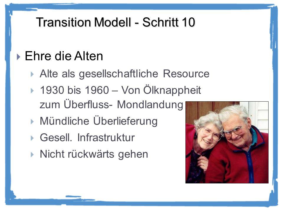 Transition Modell - Schritt 10 Ehre die Alten Alte als gesellschaftliche Resource 1930 bis 1960 – Von Ölknappheit zum Überfluss- Mondlandung Mündliche Überlieferung Gesell.