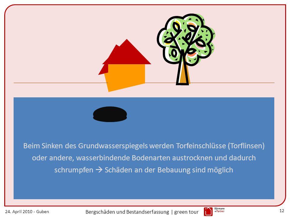 24. April 2010 - Guben Bergschäden und Bestandserfassung | green tour 12 Beim Sinken des Grundwasserspiegels werden Torfeinschlüsse (Torflinsen) oder